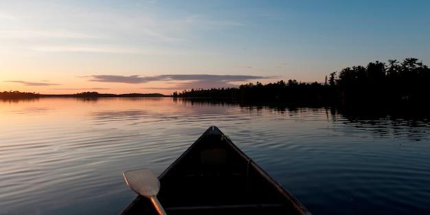 Canoa, em, um, lago, lago, de, a, madeiras, ontário, canadá