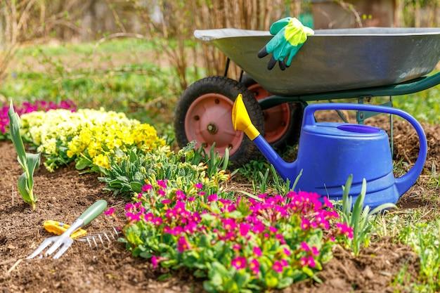 Canteiro de flores e equipamento de jardineiro carrinho de mão de jardim, regador, ancinho de jardim no jardim