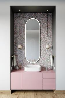 Canto da casa de banho com parede com mosaico hexagonal de tons rosa e azul. renderização 3d