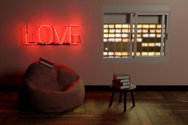 Canto de leitura com um pufe e uma mesinha com livros e um letreiro de néon vermelho com a palavra amor iluminando a sala e uma janela com vista para a cidade à noite. renderização 3d