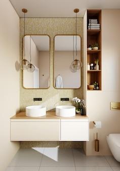 Canto do banheiro com azulejos brancos e dourados, dois espelhos e luminárias redondas. renderização em 3d
