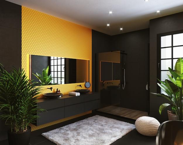 Canto do banheiro do hotel com paredes de azulejos amarelos, espelho retangular e pia preta redonda. estilo classico. renderização 3d