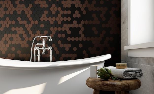 Canto do banheiro do hotel com paredes de azulejos marrons e pretos. estilo classico. renderização 3d