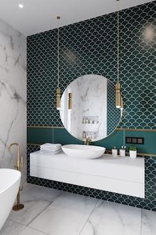 Canto do banheiro do hotel, com paredes de azulejos verdes, espelho grande e lavatório branco. renderização em 3d