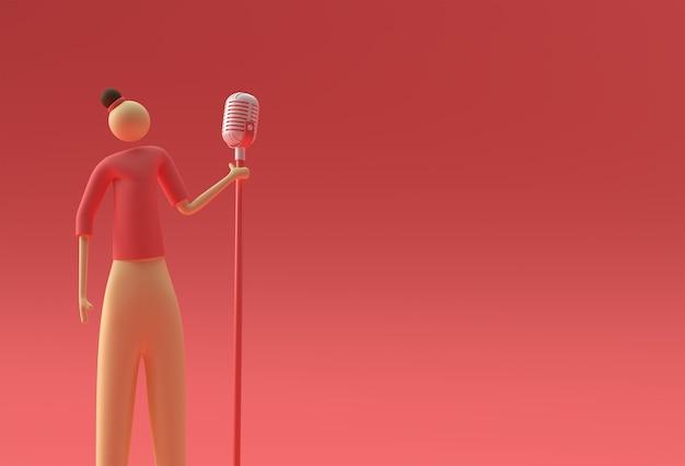 Cantora de desenho animado na frente de um design de renderização 3d de microfone vintage.