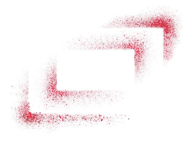 Cantos de estênceis vermelhos isolados no fundo branco - ilustração raster abstrata