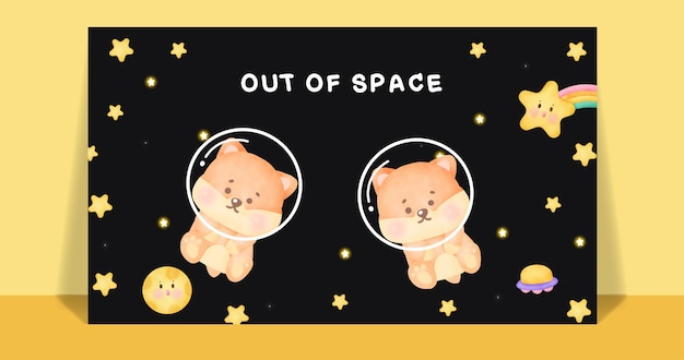 Cão bonito corgi aquarela na galáxia com cartão postal de texto fora do espaço.