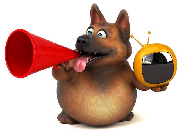 Cão de pastor alemão divertido com tv retrô