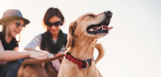Cão feliz e seus donos