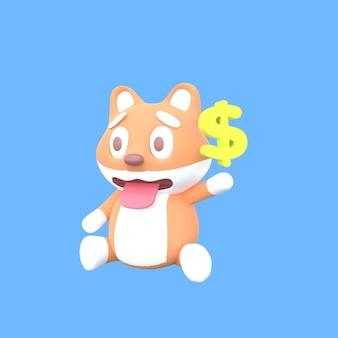 Cão fofo shiba inu 3d com símbolos de dólares flutuantes em fundo azul