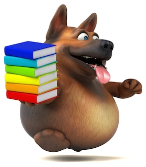 Cão pastor alemão divertido - ilustração 3d