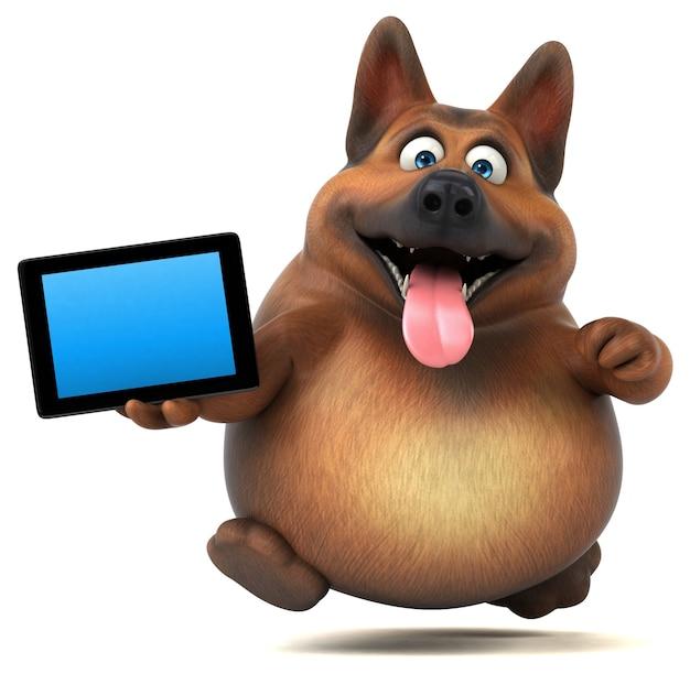 Cão pastor alemão divertido - personagem 3d