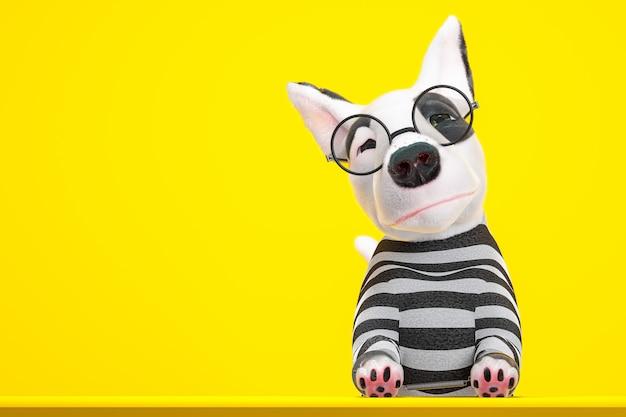 Cão prisioneiro de óculos e algema. vestindo uma camisa listrada em preto e branco na sala amarela. renderização 3d.