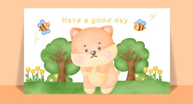 Cão shiba bonito aquarela com um cartão postal de texto de bom dia.