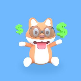 Cão shiba inu fofo 3d com dólar verde flutuante em fundo azul