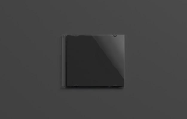 Capa de disco fechada preta em branco, isolada em fundo escuro