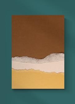 Capa de livro rasgado em papel artesanal em tom de terra
