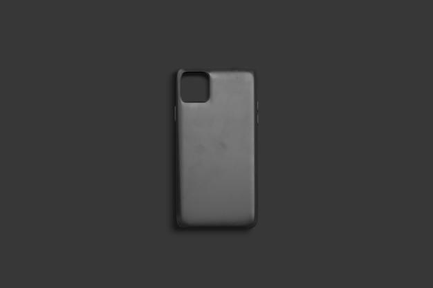 Capa de telefone preta em branco, vista superior