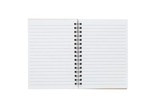 Capa do caderno vazio sobre um fundo branco e traçados de recorte.