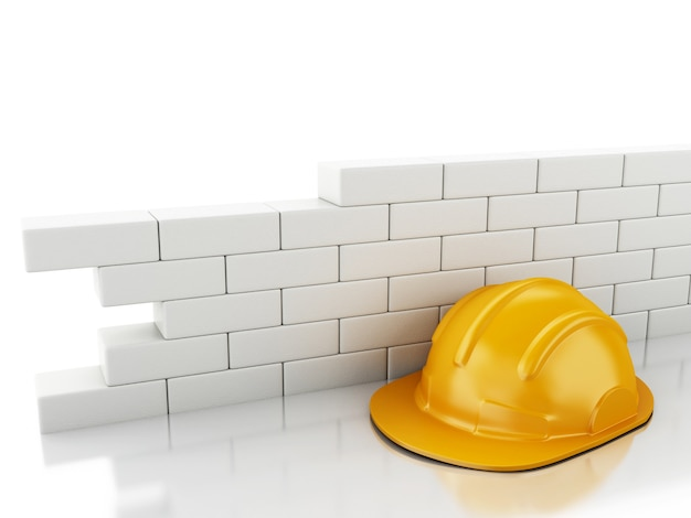 Capacete 3d e parede de tijolo.