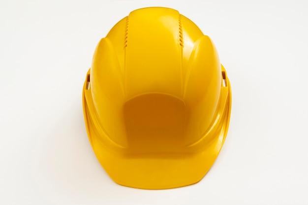 Capacete de construção de vista de alto ângulo de close-up