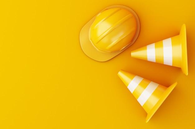 Capacete de segurança 3d e cone do tráfego no fundo alaranjado.