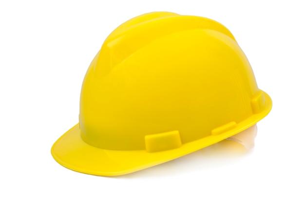Capacete de segurança amarelo em fundo branco