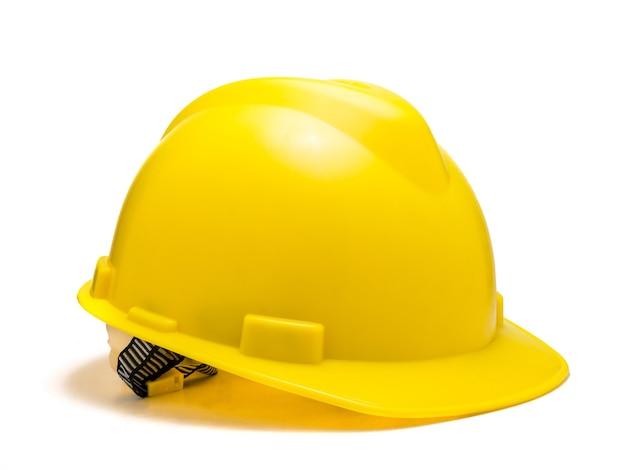 Capacete de segurança amarelo isolado no branco
