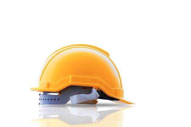 Capacete de segurança da construção em um fundo branco.