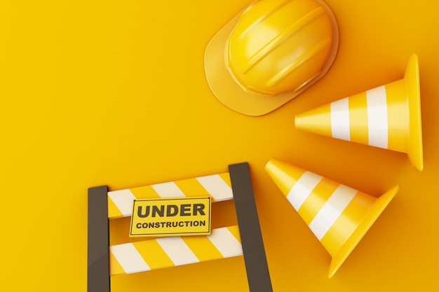 Capacete de segurança e cone de trânsito em fundo laranja
