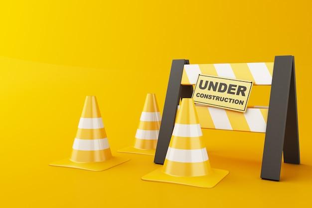 Capacete de segurança e cone do tráfego no fundo alaranjado. sob o conceito de construção. ilustração 3d.
