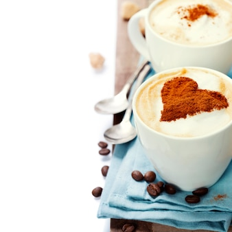 Cappuccino com duas xícaras