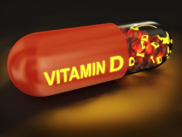 Cápsula com inscrição brilhante de vitamina d. renderização 3d.