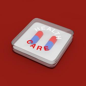Cápsula de dois comprimidos para cuidados de saúde em caixa de plástico rígido sobre fundo vermelho. renderização 3d
