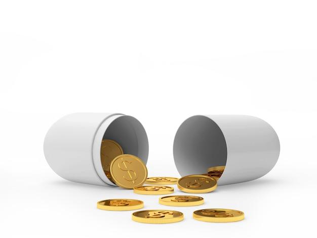 Cápsula médica aberta branca e moedas de dólar espalhadas