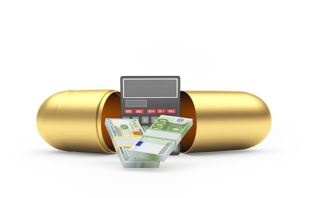 Cápsula médica dourada com dinheiro e calculadora dentro