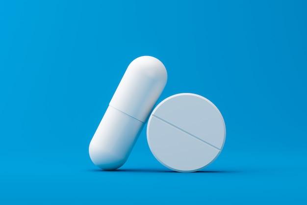 Cápsula ou analgésicos brancos com uma farmácia em uma formação médica. comprimidos brancos para aliviar doenças ou febre. renderização em 3d.