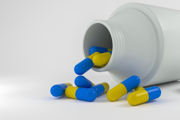 Cápsulas de comprimidos, renderização em 3d