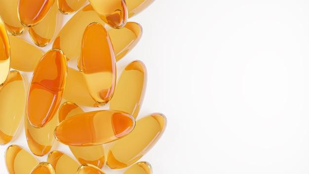 Cápsulas de gel de ômega 3 ou vista superior do close up de óleo de fígado de bacalhau no conceito de suplemento de saúde de fundo branco.