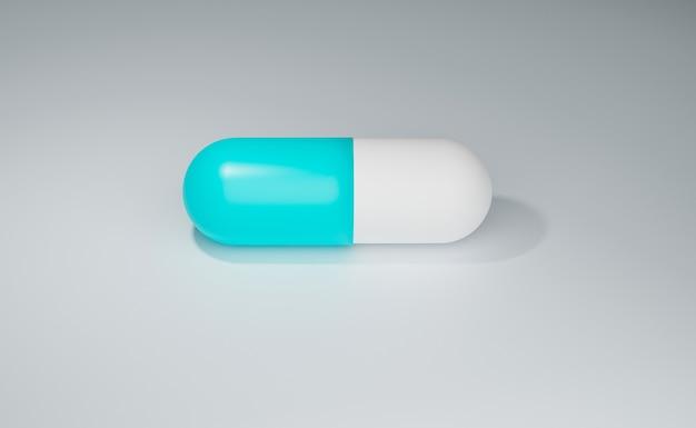 Cápsulas de medicação de cor azul e branca em fundo branco, renderização de ilustração 3d