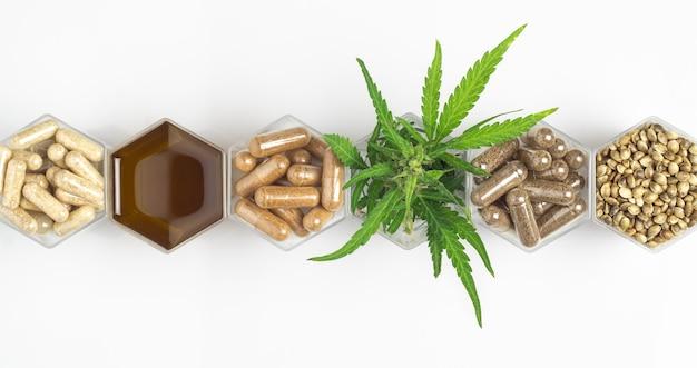 Cápsulas de medicamento de cannabis, óleo e sementes de cânhamo e planta verde em potes de favo de mel no fundo branco