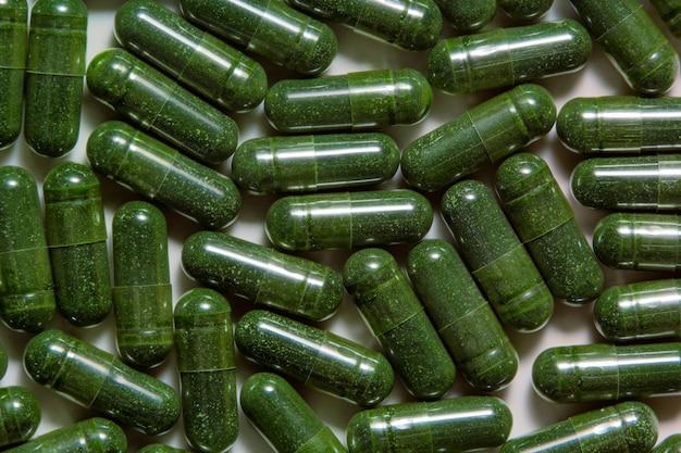 Cápsulas de superalimento de algas verdes de chlorella