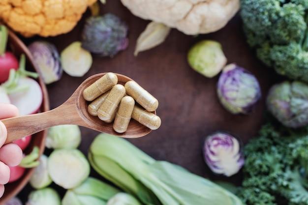 Cápsulas de vegetais crucíferos, suplementos alimentares saudáveis