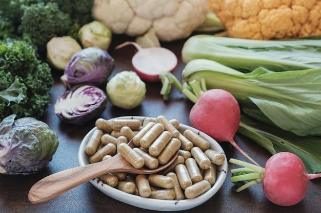 Cápsulas de vegetais crucíferos, suplementos dietéticos