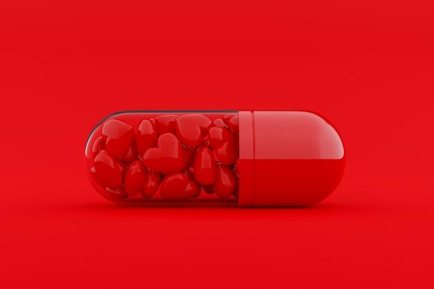 Cápsulas, dentro das quais estão cheias de muitos corações vermelhos. conceito de ideia mínimo e amor, renderização em 3d.