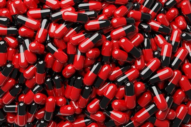 Cápsulas pretas e vermelhas close-up