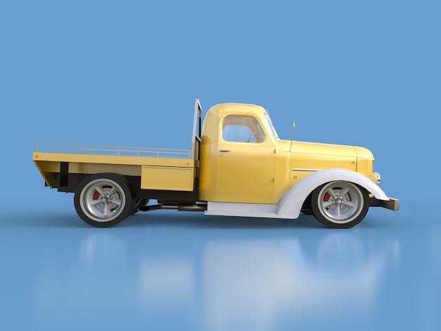 Captador restaurado antigo. pick-up no estilo de hot rod. ilustração 3d carro branco-dourado sobre um fundo azul.