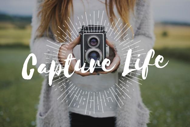 Capture a vida através da sobreposição de palavras de fotografia de lentes
