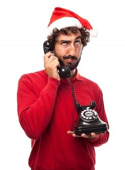 Cara cansado de falar ao telefone