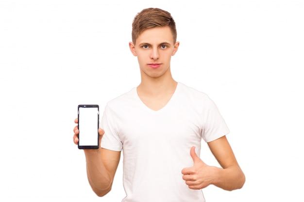 Cara de camisa anuncia telefone, isolar, homem emocional